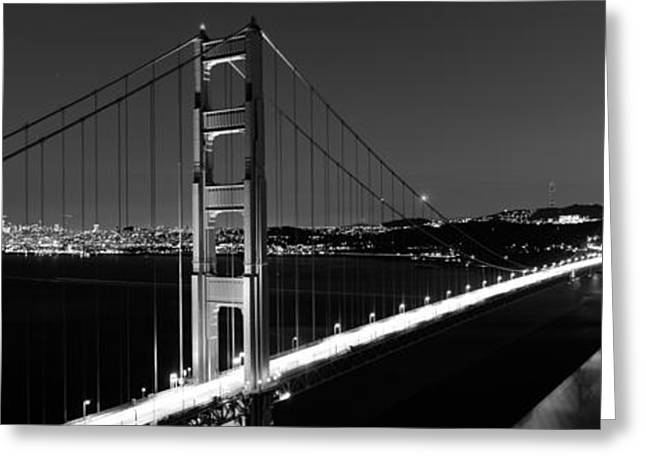 Marin County Greeting Cards - Suspension Bridge Lit Up At Dusk Greeting Card by Panoramic Images