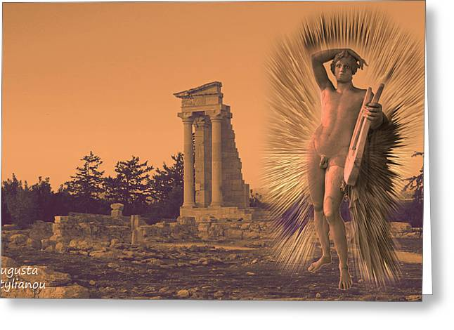 Amazing Sunset Digital Greeting Cards - Temple of Apollo  Greeting Card by Augusta Stylianou