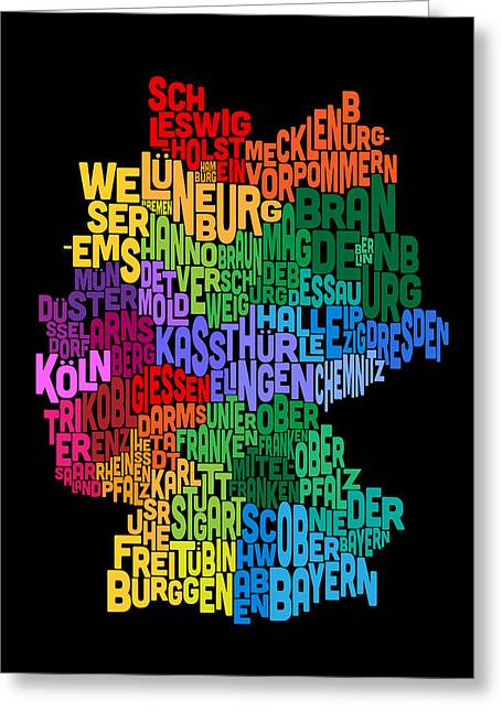 German Map Greeting Cards - Text Map of Germany Map Greeting Card by Michael Tompsett