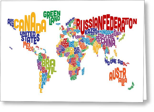 Cartography Digital Greeting Cards - Text Map of the World Greeting Card by Michael Tompsett