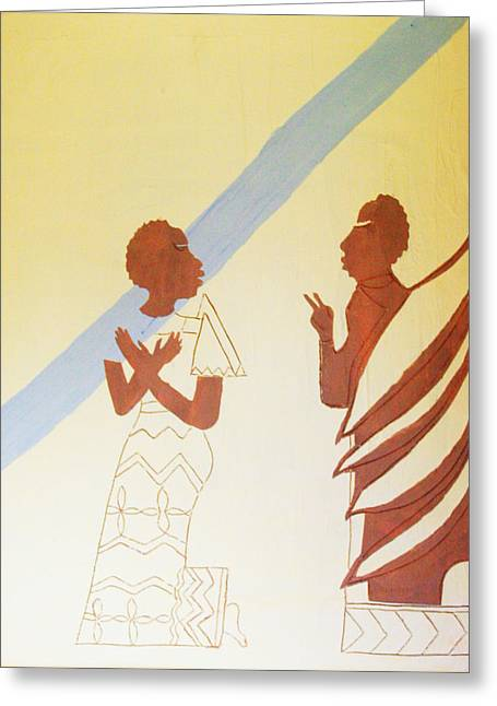 Mother Of God Ceramics Greeting Cards - The Annunciation Greeting Card by Gloria Ssali