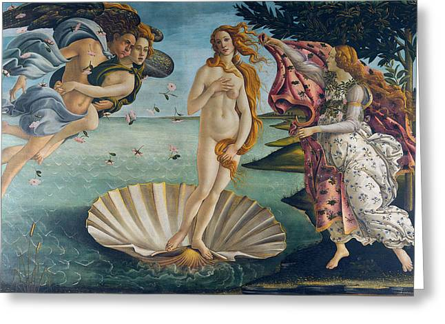 1485 Greeting Cards - The Birth of Venus Greeting Card by Sandro Botticelli