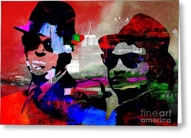 The Blues Brothers Greeting Card by Marvin Blaine