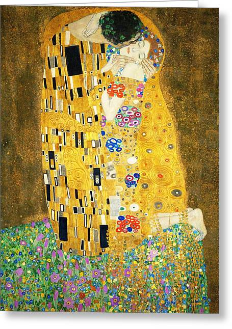 Recently Sold -  - Victorian Greeting Cards - The Kiss Greeting Card by Gustav Klimt