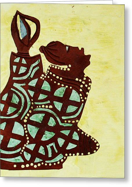 Contemporary Art Ceramics Greeting Cards - The Wise Virgin Greeting Card by Gloria Ssali