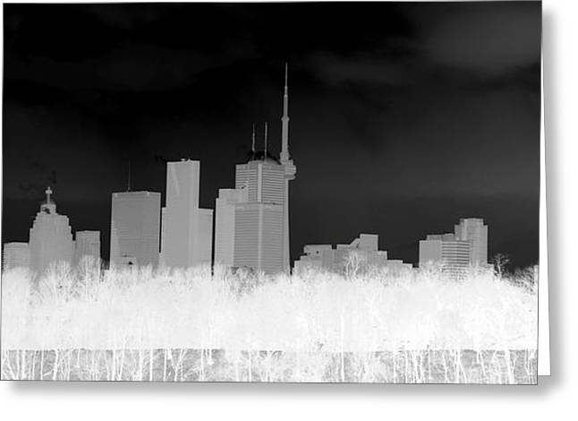 Inverted Color Greeting Cards - Toronto Skyline Greeting Card by Valentino Visentini