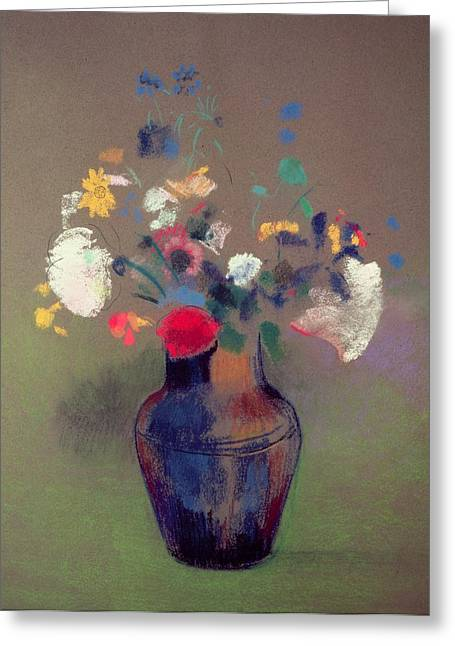 In Bloom Greeting Cards - Vase of Flowers Greeting Card by Odilon Redon