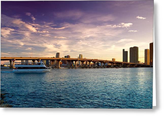 Ocean Images Greeting Cards - Venetian Causeway Greeting Card by Celso Diniz