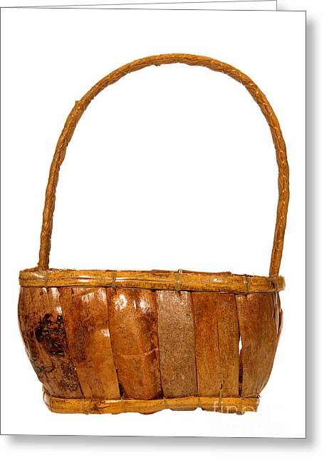 Basket Photographs Greeting Cards - Wicker Basket Greeting Card by Olivier Le Queinec