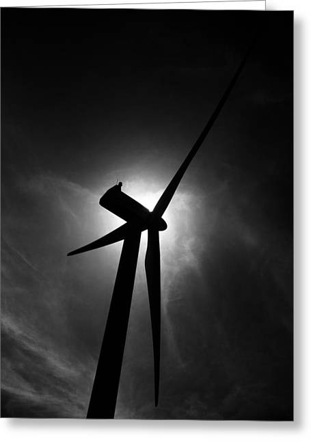 Alternative Home Decor Greeting Cards - Wind Powered Turbine Electric Generator Greeting Card by Donald  Erickson