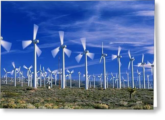 Generators Greeting Cards - Wind Turbines, California, Usa Greeting Card by David Nunuk
