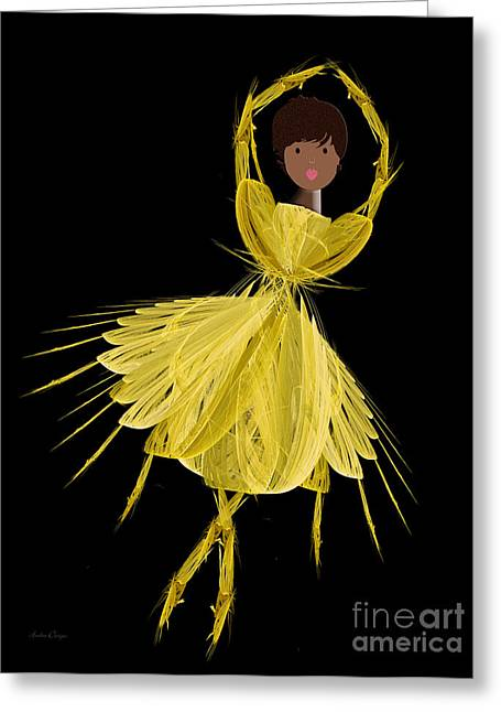 8 Yellow Ballerina Greeting Card by Andee Design