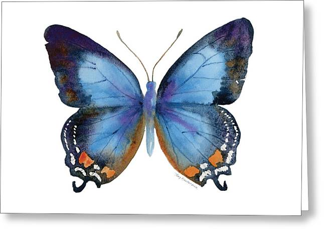 Blue And Orange Greeting Cards - 80 Imperial Blue Butterfly Greeting Card by Amy Kirkpatrick