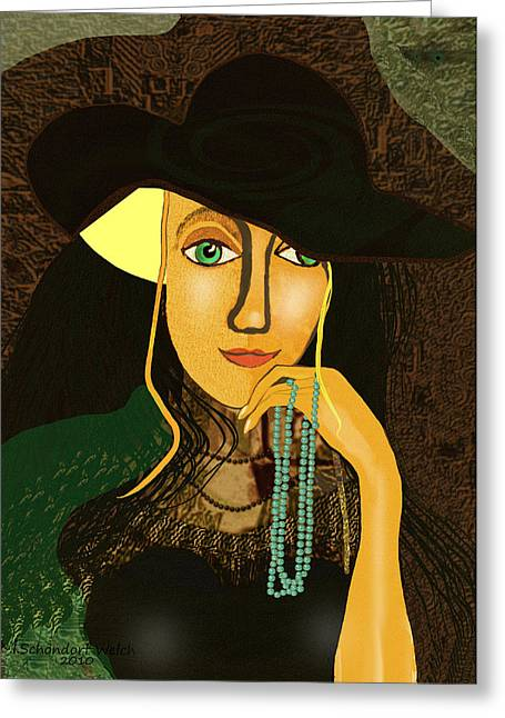 Inuu Greeting Cards - 803 - Young girl with pearls ... Greeting Card by Irmgard Schoendorf Welch