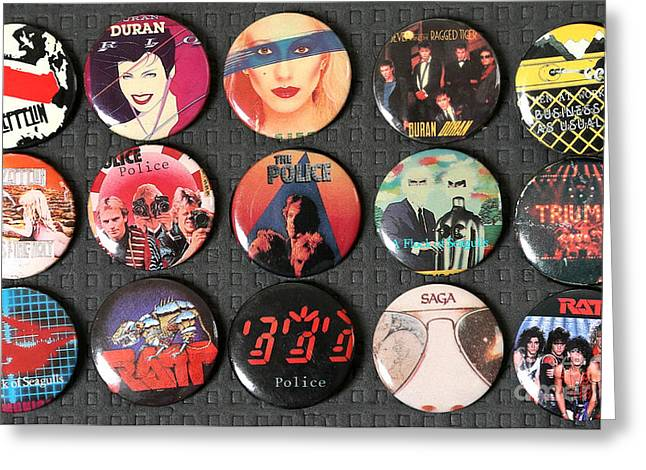 At Work Greeting Cards - 80s Music Rock Pins Greeting Card by Jt PhotoDesign