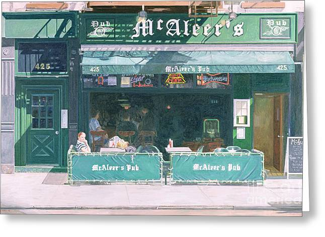 Lounge Paintings Greeting Cards - 80th and Amsterdam Avenue Greeting Card by Anthony Butera