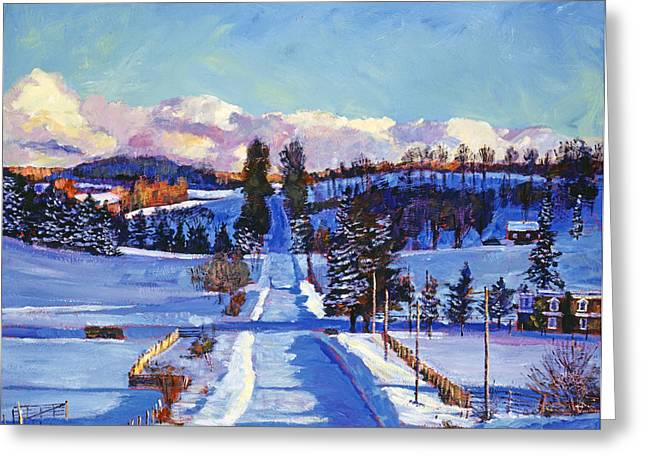 Winter Road Scenes Paintings Greeting Cards - 817 Canadian Winter Farm Greeting Card by David Lloyd Glover