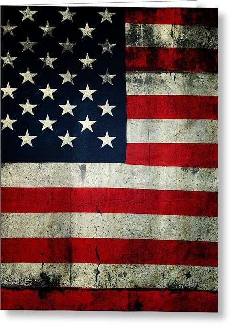 Textures And Colors Greeting Cards - American flag Greeting Card by Les Cunliffe