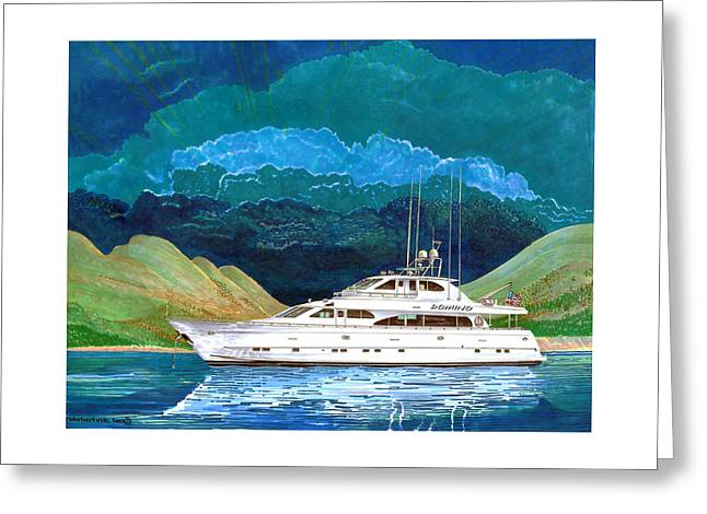 Art Of Sailing Greeting Cards - 82 foot MegaYacht Domino Portrait Greeting Card by Jack Pumphrey