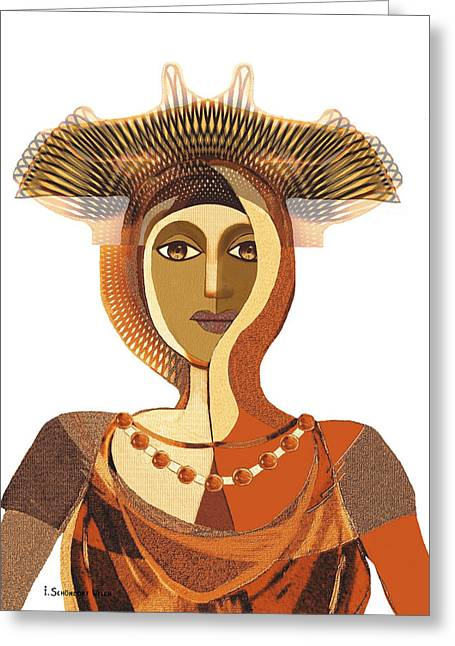 Byzantine Greeting Cards - 821 - Byzantine Princess Greeting Card by Irmgard Schoendorf Welch