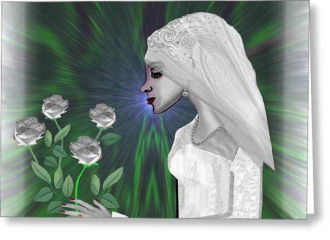Soft Colour Greeting Cards - 827 - Shy little bride Greeting Card by Irmgard Schoendorf Welch
