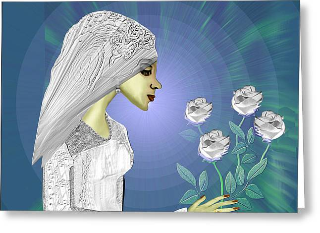 Soft Colour Greeting Cards - 828 - White roses Greeting Card by Irmgard Schoendorf Welch
