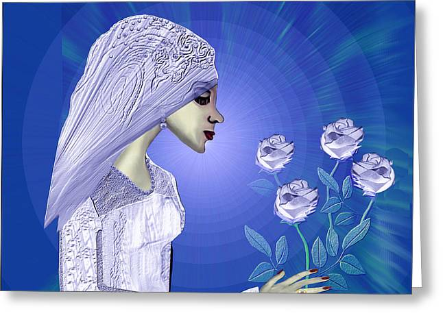 Soft Colour Greeting Cards - 829 - Young bride with roses Greeting Card by Irmgard Schoendorf Welch