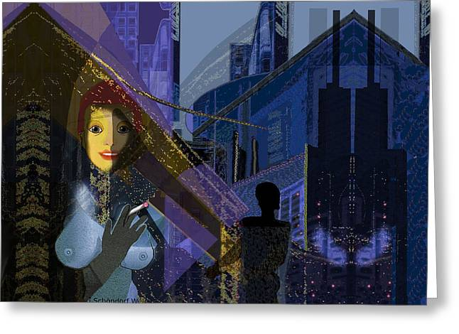 In-city Digital Art Greeting Cards - 831 - Big City darkness Greeting Card by Irmgard Schoendorf Welch