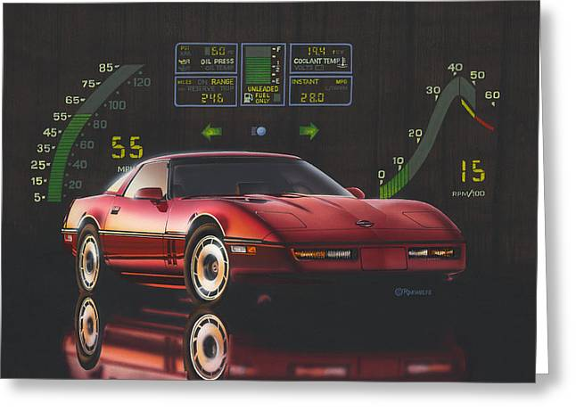 American Automobiles Paintings Greeting Cards - 84 Corvette Greeting Card by Richard De Wolfe