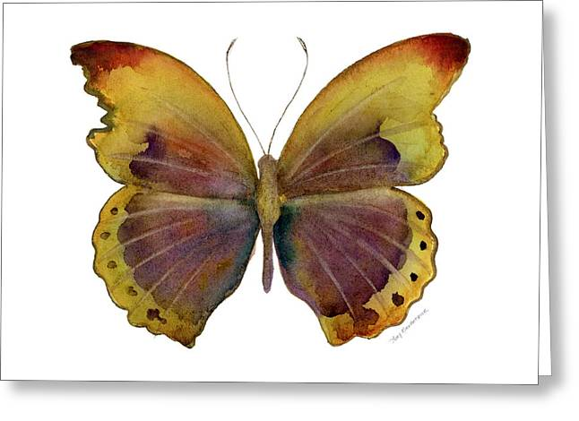 Fall Colors Greeting Cards - 84 Gold-Banded Glider Butterfly Greeting Card by Amy Kirkpatrick
