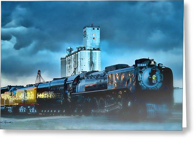 Railyard Greeting Cards - 844 Night Train Greeting Card by Sylvia Thornton