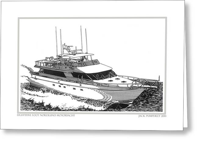 Pen And Ink Framed Prints Greeting Cards - 85 foot Custom Nordlund Motoryacht Greeting Card by Jack Pumphrey