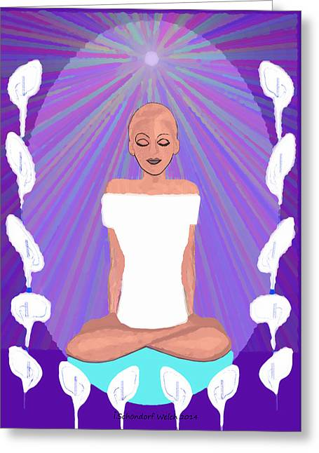 851 Greeting Cards - 851 - Meditation   Greeting Card by Irmgard Schoendorf Welch