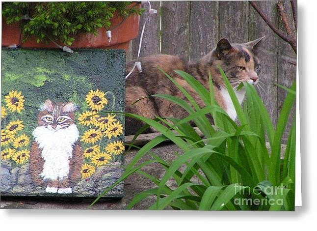 Talent Greeting Cards Greeting Cards - #852 D473 Kitties on Stone Greeting Card by Robin Lee Mccarthy Photography