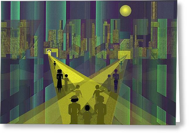 Little Boy Digital Art Greeting Cards - 854 - Nightwalking  to a distant  city     Greeting Card by Irmgard Schoendorf Welch