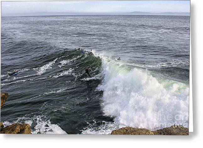 Santa Cruz Surfing Greeting Cards - 862 pr The Big Wave  Greeting Card by Chris Berry
