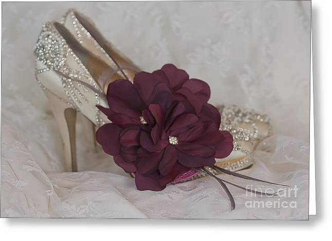 Cinderella Slippers Greeting Card by Terri Waters
