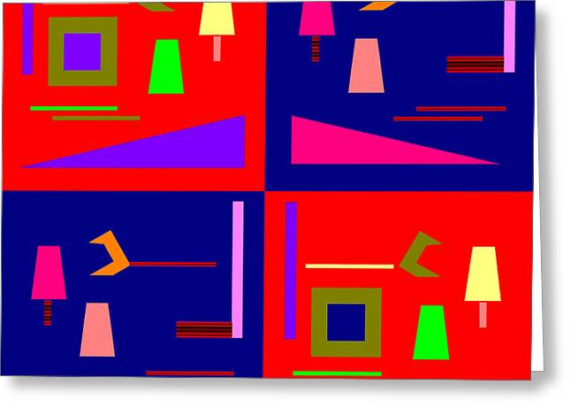 Vivid Colour Digital Art Greeting Cards - 875 - Pop piece Greeting Card by Irmgard Schoendorf Welch