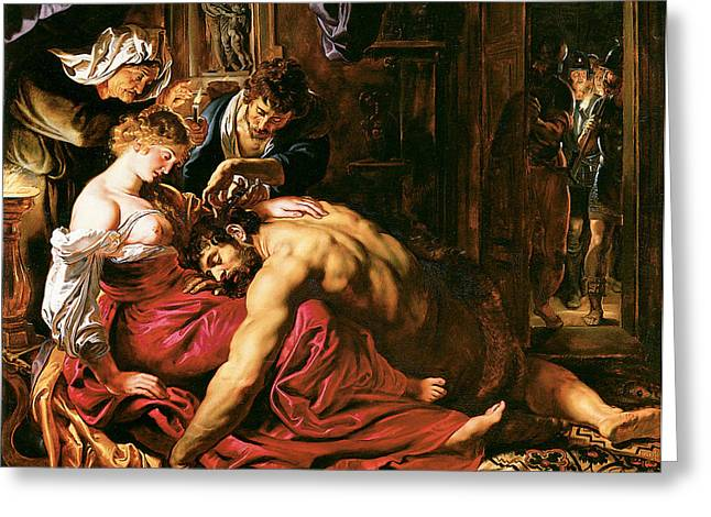 Historically Significant Greeting Cards - Samson and Delilah Greeting Card by Peter Paul Rubens