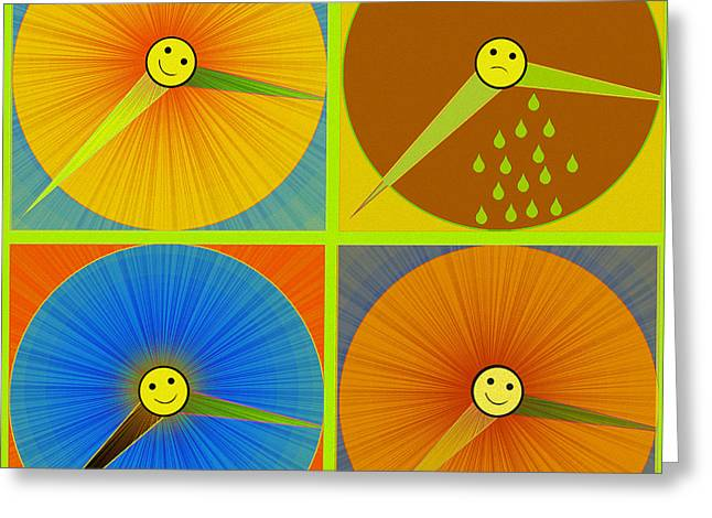 880 - Rain And Shine Clocks  Greeting Card by Irmgard Schoendorf Welch