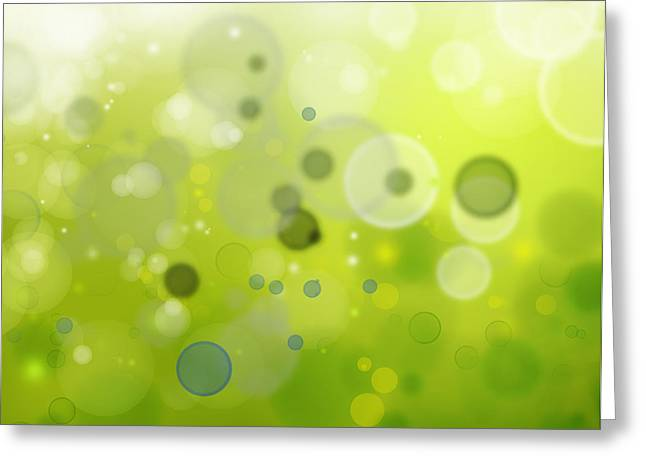Color Green Greeting Cards - Abstract background Greeting Card by Les Cunliffe