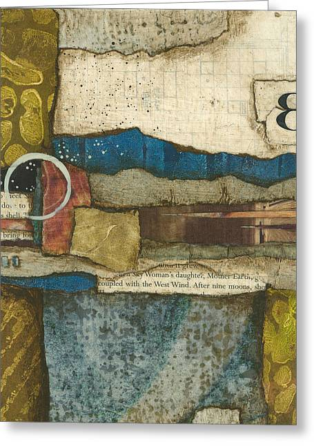 Abstract Collage Greeting Cards - 8th Before The Nineth Moon Greeting Card by Laura  Lein-Svencner