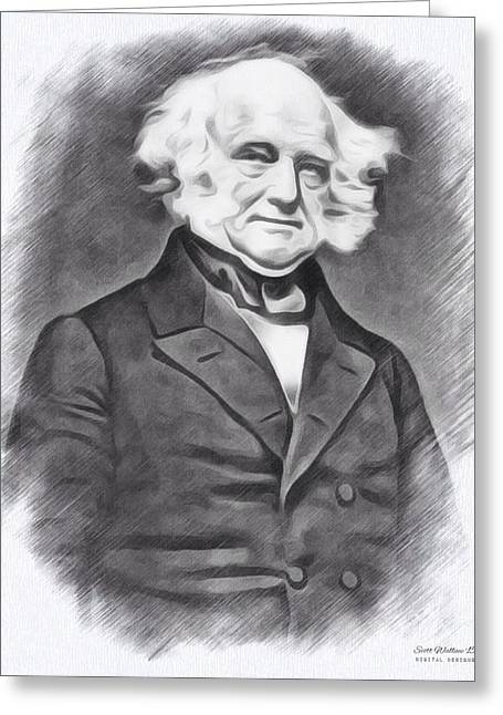 1833 Greeting Cards - 8th President Martin Van Buren Greeting Card by Scott Wallace
