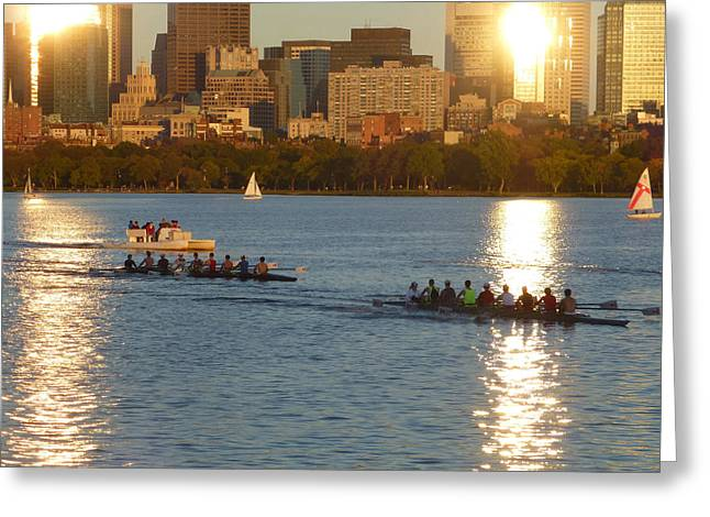 Charles River Greeting Cards - 8x10 Charles River rowers sunset. Greeting Card by Toby McGuire