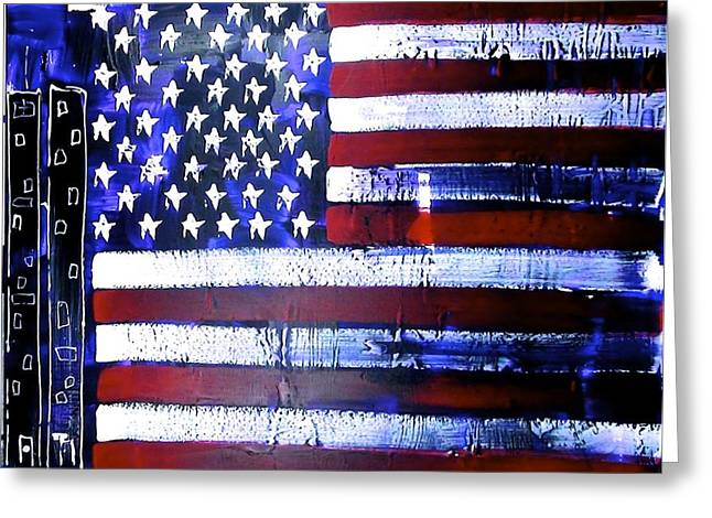 Independance Greeting Cards - 9-11 Flag Greeting Card by Richard Sean Manning