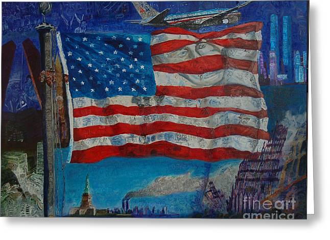 Wtc 11 Paintings Greeting Cards - 9/11 Greeting Card by Mark Smith