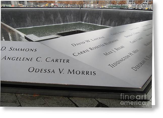 Wtc 11 Greeting Cards - World Trade Center 9/11 Memorial Pool - Corner Greeting Card by Vinnie Oakes