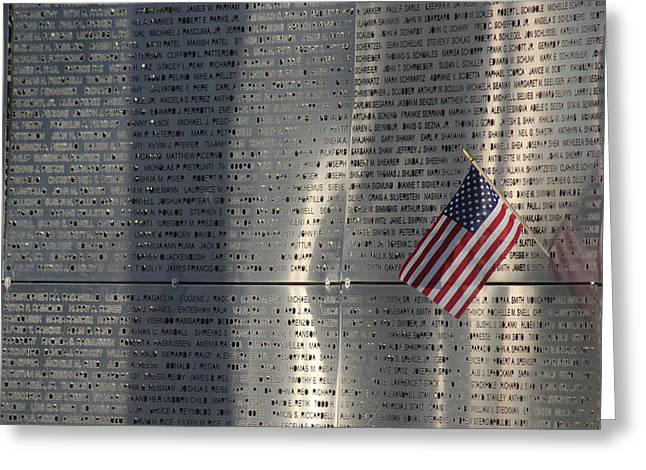 The Twin Towers Of The World Trade Center Greeting Cards - 9-11 Memorial Rocky Point New York Greeting Card by Bob Savage