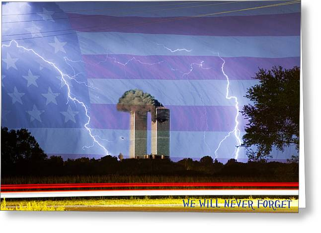 9-11 Greeting Cards - 9-11 We Will Never Forget 2011 Poster Greeting Card by James BO  Insogna