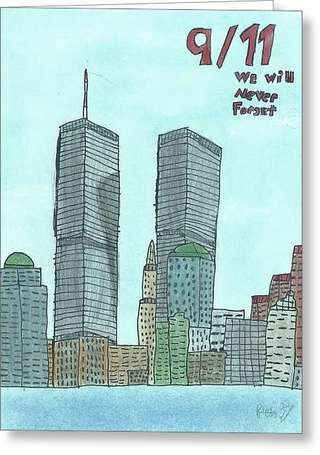 World Pastels Greeting Cards - 9/11 We Will Never Forget Greeting Card by Ron Retsky